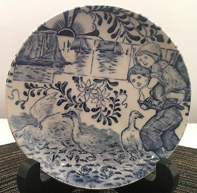 Vintage Boch Belgium Blue Delft  Girl & Boy Mini Plate, Coaster, 4 1/4""