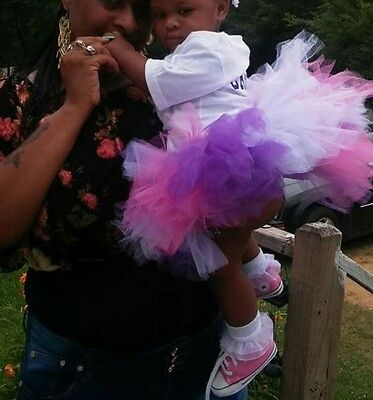 kids girls tutu pink purple white tulle skirt  Any size leave note to seller :)