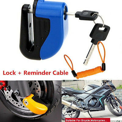 Motorcycle Anti-theft Alarm Sturdy Bicycle Disc Brake Lock + 1.5M Reminder Cable