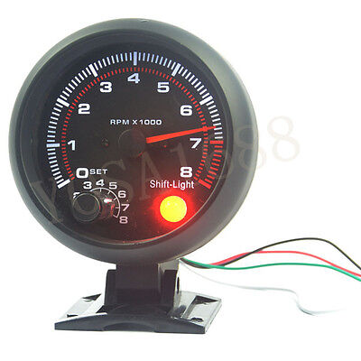 3.75inch (95.25mm) Black shell white light LED tachometer gauge RPM