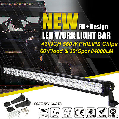 42inch 560W LED Work Light Bar Spot Flood Combo Truck Offroad Driving 4WD Boat