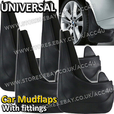 Universal Car Plain Black Rubber Mud Flaps Wheel Arch Splash Guards With Fixings