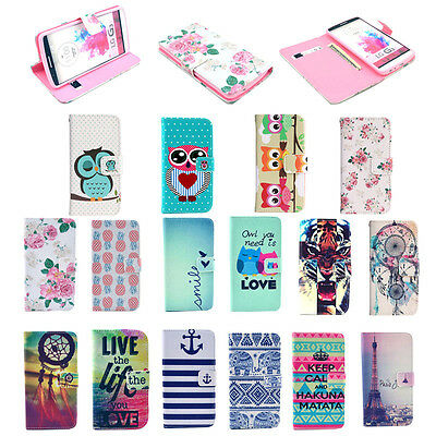 For LG G3 Flip Hybrid Painting Wallet Flip PU Leather Magnetic Stand Case Cover