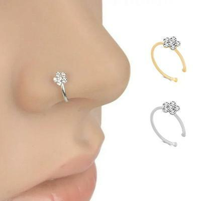 Beauty Diamond Crystal Rhinestone Flower Nose Ring Hoop Body Piercing Jewelry