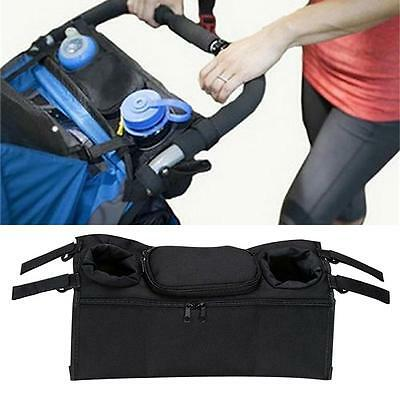 1x New Baby Stroller Organizer Bottle Cup Bag Stroller Pram Accessories Black B