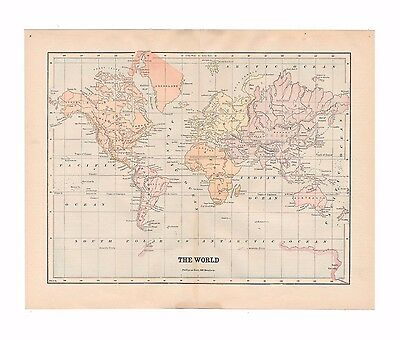 Original antique color world map from 1887 encyclopedia - Free US Shipping