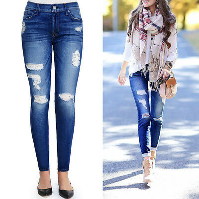 Women Hole Destroyed Ripped Distressed Denim Pants High Waist Jeans Trousers