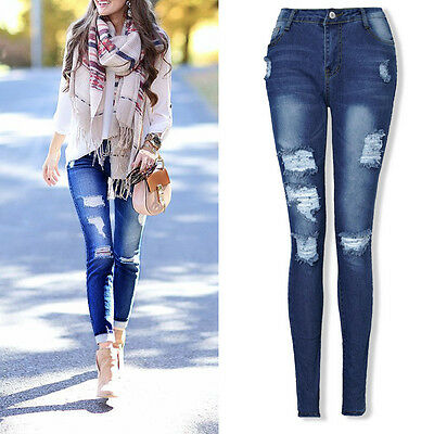 Women's Destroyed Ripped Distressed High Waist Stretchy Skinny Denim Pants Jeans