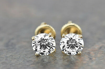 14k Yellow Gold Over 2.50Ct (8.7mm)Round Cut Diamonds Studs Earrings Screw Backs