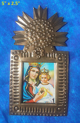 Bendicion Mexican Handmade Tin 5x2.5 Picture Mother & Child Jesus Mary Sunflower