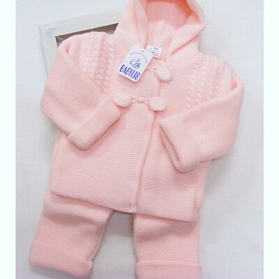 Baby Girls Spanish Knitted Pom Pom Hooded Cable Jacket & Trousers Set 0-12 Mth