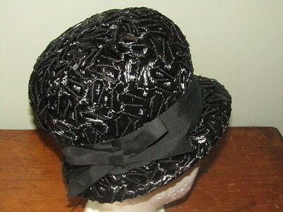 Vintage Ladies Church Hat Black Woven 30's 40's Style