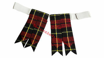 New Scottish Highland Kilt Flashes Wallace/Kilt Hose Sock Flashes Wallace Tartan