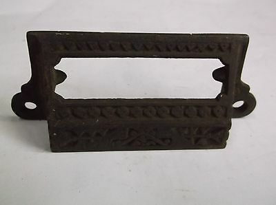 "Apothecary Bin Pull drawer handle cup 3 1/4"" ORNATE vintage old card holder #14"