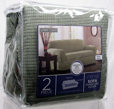 Brilliant Maytex Reeves Stretch 2 Piece Sofa Slipcover Sage Home Interior And Landscaping Eliaenasavecom