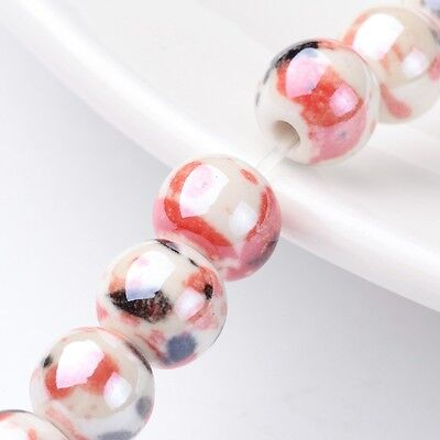 Handmade Porcelain Round Beads Strands Pearlized Red 8mm 35pcs/strand 12.5""
