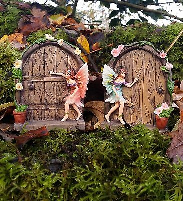 2 secret Fairy Door Garden Magical Statue Ornament Figurine Fairy Mushrooms