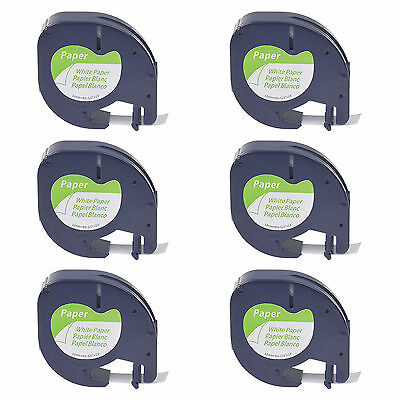 6 Pack S0721510 Black on White Paper Label Tape for DYMO Letratag LT 91330 1/2''