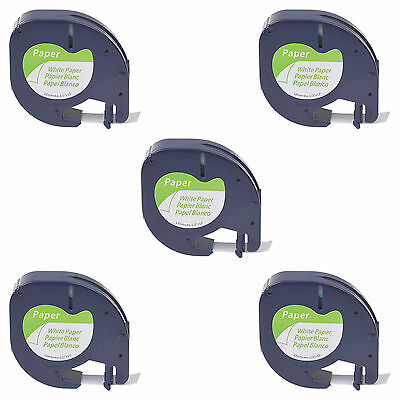 5PK S0721510 Black on White Paper Label Tape Fit for DYMO Letratag LT 91330 12mm