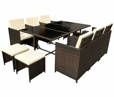New Outdoor Garden Furniture Set Patio Poly Rattan Conservatory Brown cube 11Pc