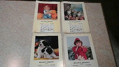 Vintage LOT of 4 Advertising Calendars Litho in USA Bryant's Grocery Bristol, VA