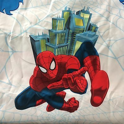 Spiderman White FULL  SIZE Single Flat Bed Sheet Marvel Spider-Man Fabric NWOT