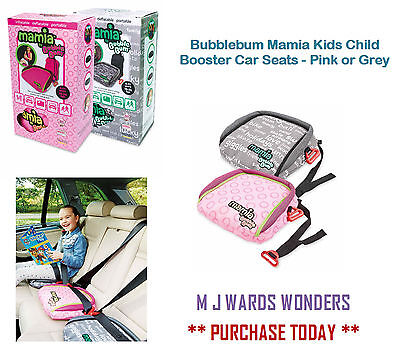 Bubblebum Mamia Kids Child Booster Car Seats - Pink or Grey