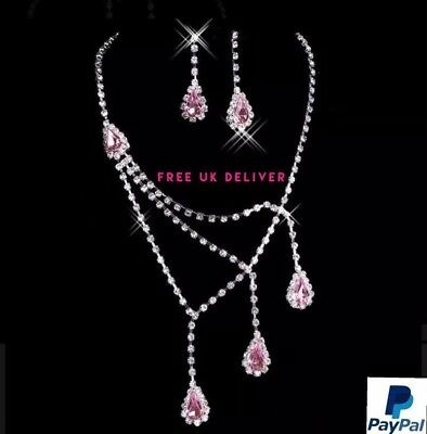 Wedding Jewelry Set Bridal Jewellery Crystals Necklace Earring  NEW