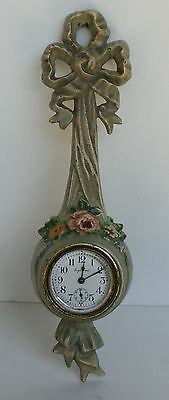 Hubley Cast Iron Wall Clock, Ingraham Clock Co Bows-Flowers, Works, Nice Paint