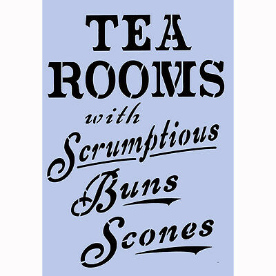 Stencil vintage tea sign TEA ROOMS A4 Crafts Furniture Spray Paint Wall 025