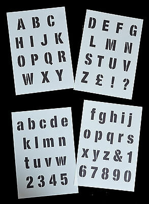 ALPHABET LETTERS STENCIL Modern style on 4 x A4 Sheets 40mm CAP HEIGHT Alpha 3