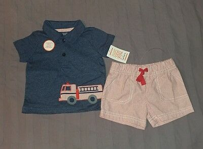 NWT Carters Baby Boy Clothes 6 Months Two Piece Firetruck Shirt Shorts Outfit