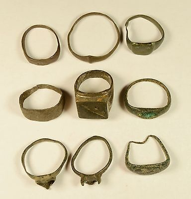 Rare Lot Of 9 Roman / Medieval Bronze Rings - Great Artifacts