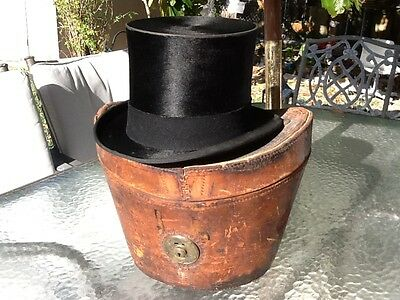 "1900-1910 True VINTAGE ""Beaver"" Plush Silk Top Hat Leather Case Size 7 EXCELLENT"