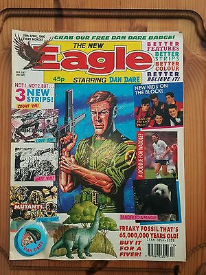 The new eagle comic starring Dan Care 26th April 1990 complete with badge
