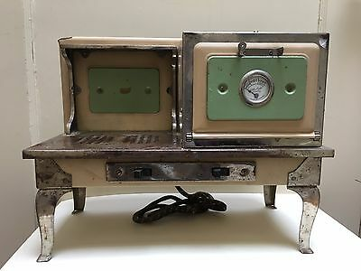 """Vintage Antique Metal Electric Toy Stove W/ Oven Heat Dial """"little Lady Ranges"""""""