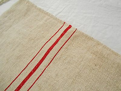 Vtg Antique RED STRIPE European French HEMP LINEN Fabric FEED SACK GRAIN BAG
