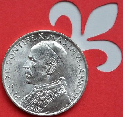 Vatican City 1940 Pope Pius XII Peter's Arch 5 Lire Silver Coin Uncirculated