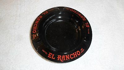 Vintage Black Glass Ashtray El Rancho Casino & Hotel  Las Vegas Nevada