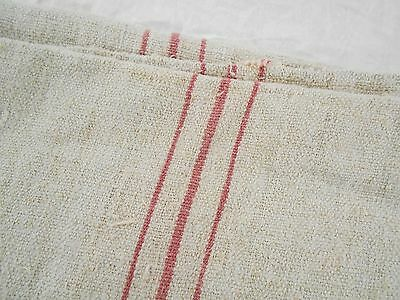 Vtg Antique LIGHT RED STRIPE WASHED FRENCH HEMP LINEN Fabric FEED SACK GRAIN BAG