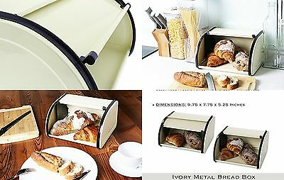 Bread Storage Box Metal Construction with Roll up Lid Ivory Vintage Food Kitchen