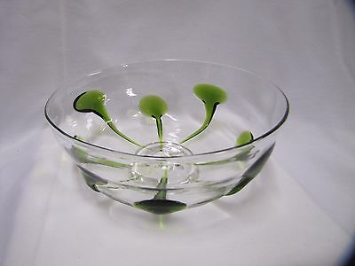 Large Glass Bowl Clear with Green Teardrop Decoration Handmade Art Glass