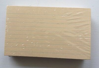 New Sealed 3x5 Ruled Index Cards Buff 100 Pack
