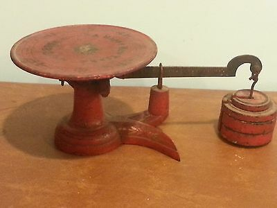 """Antique General Store Little Detective Red Scale Inscribed """"Happy New Year 1883"""""""