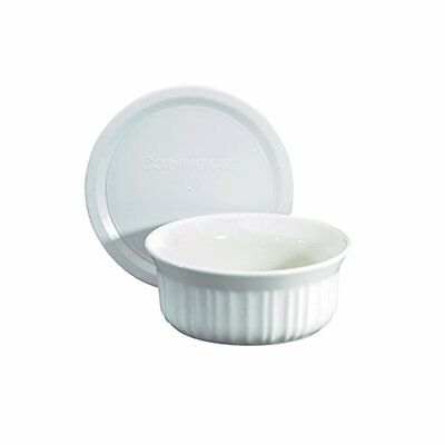 CorningWare French White Pop-Ins 16oz Round Dish with Plastic Cover, New