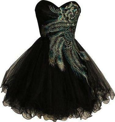 New Short Peacock Cocktail Dress Bridesmaid Evening Party Wedding Gown Black