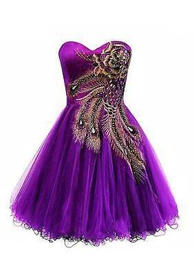 4 Color Short Peacock Cocktail Dress Bridesmaid Evening Party Wedding Gown N6354