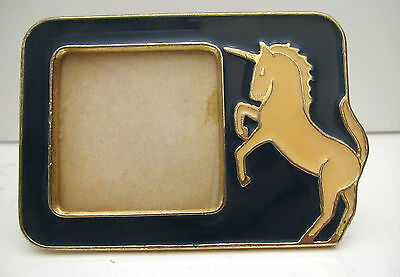 Vintage Gold Metal and Enamel Unicorn Horse Picture Frame
