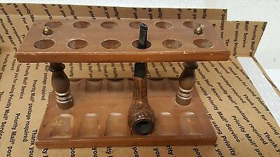 """Vintage 12"""" X 5 1/5"""" Space Saver Walnut Wood Tobacco Pipe Rack For 12 Pipes"""