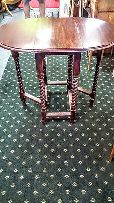 Antique English Oval Barley Twisted Drop Leaf Small Gate Table